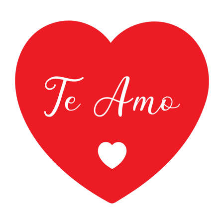 Hand sketched Te amo Spanish quote, meaning I love you. Romantic calligraphy phrase