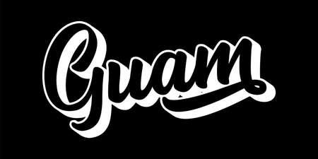 Hand sketched GUAM text. 3D vintage, retro lettering for poster, sticker, flyer, header, card