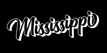 Hand sketched MISSISSIPI text. 3D vintage, retro lettering for poster, sticker, flyer, header, card Vecteurs