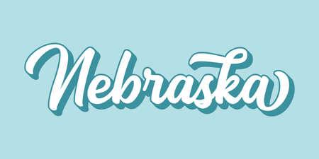 Hand sketched NEBRASKA text. 3D vintage, retro lettering for poster, sticker, flyer, header, card