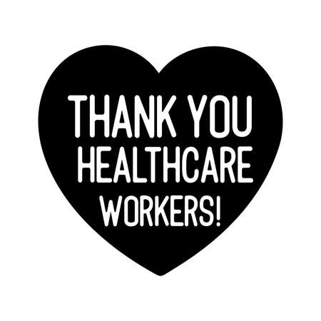 Hand sketched THANK YOU HEALTHCARE WORKERS quote as banner Vecteurs