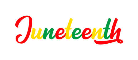 Hand sketched colorful JUNETEENTH word as banner. Lettering or modern calligraphy Vecteurs