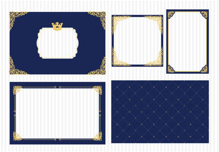 Ensemble de cadre photo vectoriel. Bleu marine foncé avec de l'or. Coin déco. Armoiries pour photo petit prince avec couronne. Carte de conception royale. Modèle d'invitation pour baby shower, anniversaire, mariage.