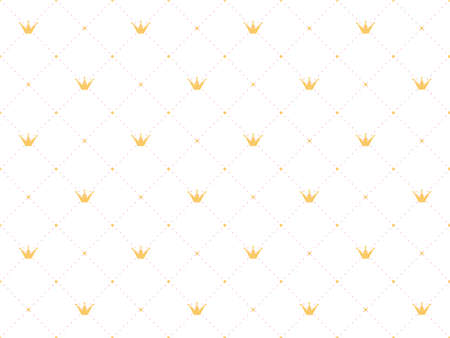 Crown and pink polka dots on white background. Cute wallpaper for little princesses. Vettoriali