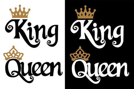 Re e regina - design di coppia. Testo nero e corona d'oro isolati su sfondo bianco. Può essere utilizzato per souvenir stampabili (t-shirt, cuscino, calamita, tazza, tazza). Icona di invito a nozze. Vettoriali