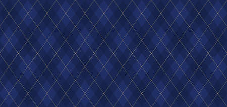 Argyle vector pattern. Navy blue with thin golden dotted line. Seamless dark geometric wrapping paper. Backdrop for Little Gentleman party invite card