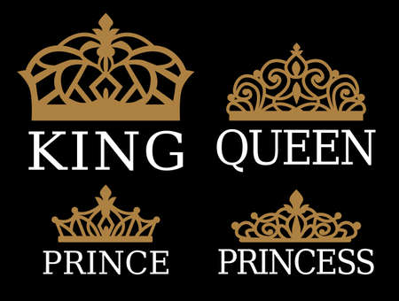 King, Queen, Prince and Princess - set of couple family design. White text and gold crown isolated on black background. For printable souvenir: t-shirt, pillow, mug, cup. Royal silhouette vector tiara