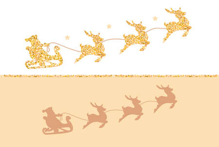 2019 Silhouette of Santa Claus riding in a sleigh with reindeer. Gold glitter on white background. Çizim
