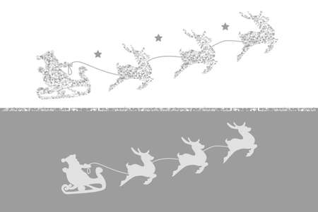 2019 Silhouette of Santa Claus riding in a sleigh with reindeer. Silver glitter on white background. Çizim