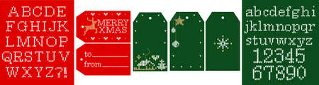 Knitted vector alphabet. Christmas font, embroidery letters, numbers. Gift tags Merry Xmas; from, to; simple labels with blank text space. Green and red background. Modern vector crochet collection Çizim