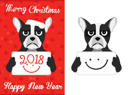 2019 Christmas french bulldog. Merry Christmas and Happy New Year card. 2018 text vector