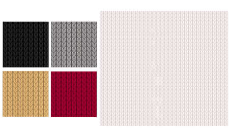 2019 Black, gray, dark red, white and gold knitted seamless pattern. Vector knit texture. Christmas winter background. Çizim