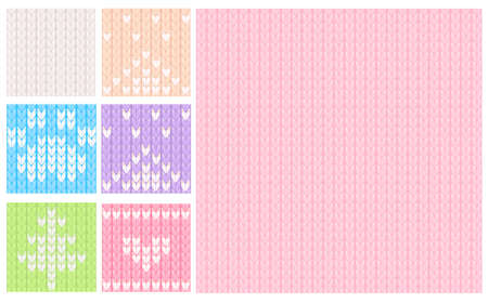 2019 Pink and pastel knitted seamless pattern. Vector knit texture for kids and baby. Christmas winter background.