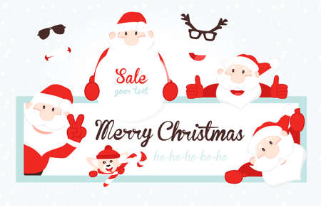 2019 Christmas Card with Santa Claus. Collection of Christmas Santa Claus. Xmas border. Merry Christmas vector text Calligraphic.