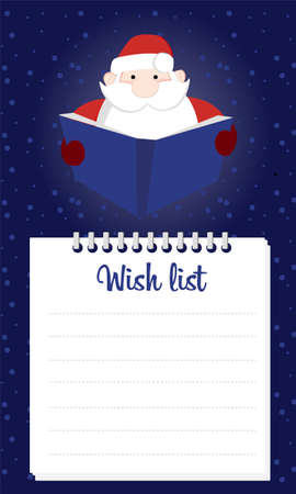 2019 Christmas wish list. Santa Claus is holding a letter from his childrens desires. Vector cartoon illustration background with santa and notebook wish