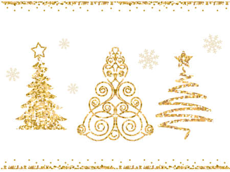 Set of vector stylized Christmas trees. Gold glitter on white background.