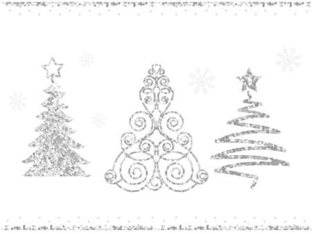 Set of vector stylized Christmas trees. Silver glitter on white background. Çizim