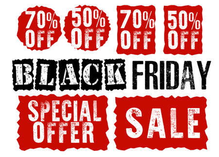 Set of grungy emblem stickers for sale banner. Element of design for Black Friday. Special offer, 50%, 70% off discount. Dirty red tags for vintage style. Round, rectangular shapes with torn paper edge Çizim