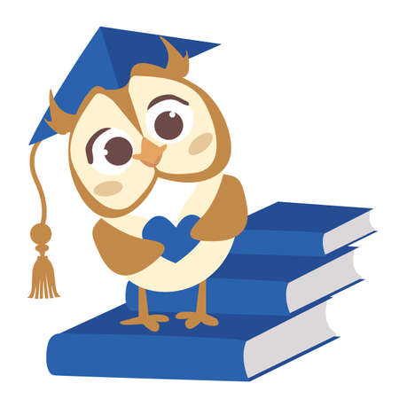 Cute vector smart owl with hat. Illustration for the diploma of the kindergarten graduates. Preschool child. A small bird with a heart in its hands. Blue books isolated on white background