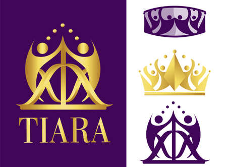 Royal golden logotype. Business company logo. Corporate identity design element. Crown with abstract arrow. Symbol of growth, community, progress and team building. People with nature Çizim
