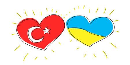 Doodle illustration: friendship between Turkey and Ukraine. Country flag. Symbol popular turism. International love. Kids hand drawn heart. Outline sketch. Turkish and ukraine politics relationship