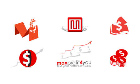 Set of logo money business red. Flat icon. Financial growth and development