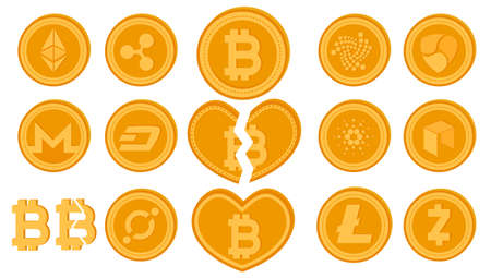 Golden vector divided bitcoin coin. Set of crypto currency logo coins. Cryptocurrency Market Capitalizations concept. Digital virtual money. Illustration of finance sign isolated on white background.