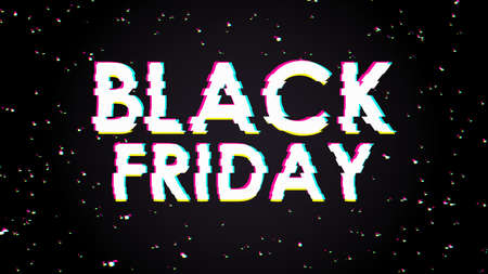 Trendy glitch effect. Black friday banner. Memphis geometric bright style. Colorful fun comic. Cosmic space. Universe galaxy festive backdrop. Deep sky space with lights noise. Anaglyph 3D. E-commerce Çizim