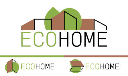 Eco home vector logo template. Tree and house. Green resort hotel. Modern building icon. Business architecture concept. Company logotype. Illustration