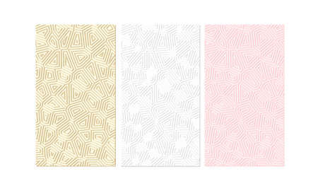 Cute minimalistic set of backgrounds. Light pink, beige and white with geometric lines and shadow. Vector vertical backdrop for banners in social networks. Beautiful simple pattern for wedding invite