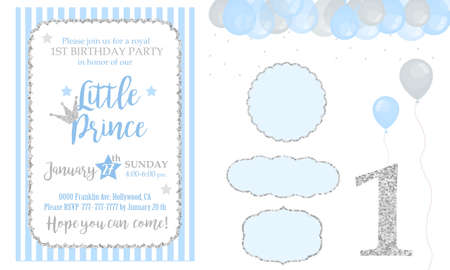 Blue and silver prince party decor. Cute happy birthday card template elements. Birthday party and baby shower design elements set. Glitter texture. Gloss effect. Banner with balloons