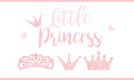 Pink text little princess on white background. Cute glitter texture. Gloss effect. Birthday party and girl baby shower decor.