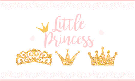 Texte rose Little Princess sur fond blanc avec dentelle. Texture mignonne de paillettes d'or. Effet brillant doré. Fête d'anniversaire et décoration de douche de bébé fille.