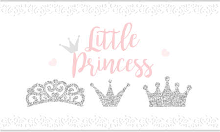 Pink text Little Princess on white background with lace. Cute silver glitter texture. Gray gloss effect. Birthday party and girl baby shower decor. Illustration