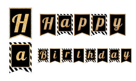 Happy Birthday party banners. Black, white and gold glitter design elements. Flags with stripes pattern Illustration