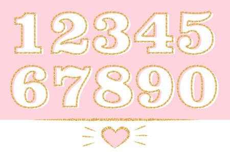 Set of numbers: 1,2,3,4,5,6,7,8,9,0 with golden outline. Gold glitter texture effect. Decorative birthday party for a cute little princess. Doodle hand drawn pink heart and lines. Xmas sale