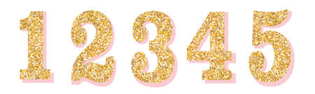 Glitter numbers with pink shadow. Part 1. For decoration of wedding, anniversary, party, label, headline, poster, sticker. Vector brilliant shimmer 1,2,3,4,5. Christmas elegant celebration design Illustration