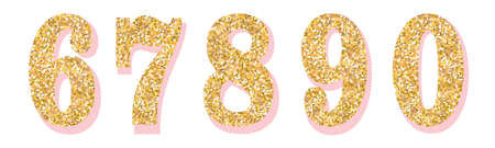 Glitter numbers with pink shadow. Part 2. For decoration, wedding, anniversary, party, label, headline, poster, sticker. Vector brilliant shimmer 6,7,8,9,0. Christmas elegant celebration design