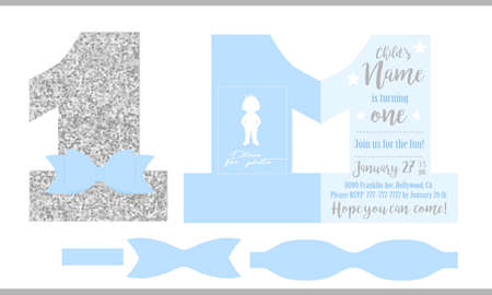 First birthday boy's party. Printable invitation card for little prince. Silver glitter and blue. Shaped invite - number one. Template have place for real child's photo. Decorated die paper tie bow. Illustration