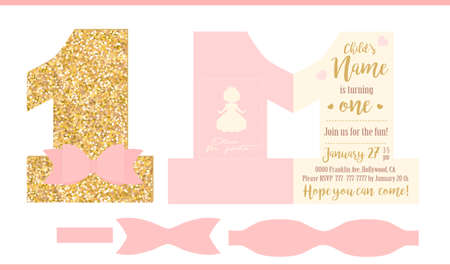 First birthday girl party. Printable invitation card for little princess. Gold glitter and pink. Shaped invite - number one. Template have place for real child's photo. Decorated realistic paper bow. Illustration