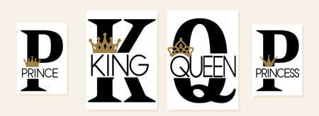 King, Queen, Prince and Princess. Mom, dad, little sister, brother, daughter, son - set of family crown design. Black text isolated on white. Printable: t-shirt, pillow, mug, cup, sweatshirt, pajamas