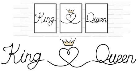 King love queen written on white pure paper. Lines connected to little heart. Couple design decoration with crown. Minimal vector wedding logo. Canvas printing. Gift for Valentine's Day