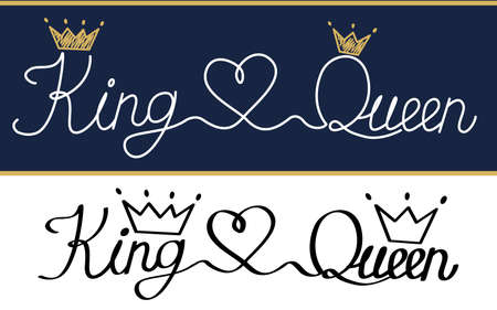 Queen and king. Black text logo royal crown and tiara. Doodle illustration, handwritten isolated on white background. T-shirt, cup, pillow, wedding invitation, canvas poster. Thin thread minimal style
