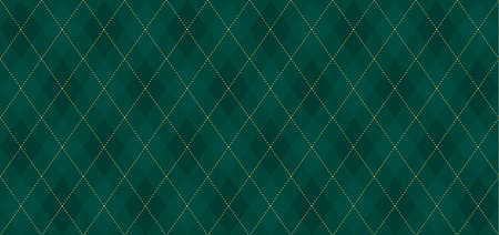 Argyle vector pattern. Dark green with thin slim golden dotted line. Seamless vivid wrapping paper. Backdrop Little Gentleman party invite card Çizim