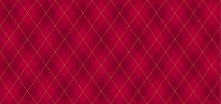 Argyle vector pattern. Dark red with thin golden dotted line. Seamless geometric background textile, wrapping gift paper. Backdrop Xmas party invite card. Christmas traditional color maroon
