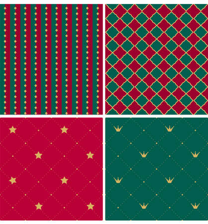 Set of royal xmas patterns. Collection of red, green, gold print texture. Vector background for decoration Christmas party, invitation, flyer, poster. Invite card for wedding. Traditional home colors
