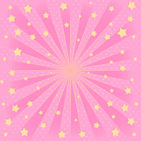 Pink background with sunbeams flying star in air. Romantic elegante picture for an invitation card (birthday invitation, party, discount)