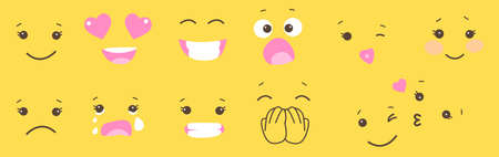 Set of smile face emoji on yellow background. Simple character emotion. Tile shirt, sweet table, mug, decoration funny party. Lol, laugh, shy, in love, kiss, cry, shock Illustration