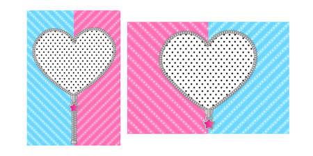 Fondo rosa blu del cuore. Motivo a righe per la festa girly Lol Doll Surprise. Modello di invito di compleanno con zip tonda. Elemento di design del bordo vettoriale decompresso