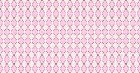 Pink pattern with rhombuses and white dots stars. Solid elegante wedding backdrop. Element of design for Lol Surprise party. Arabic girlish ornate. Premium luxury toy print. Fabric little princess Illustration